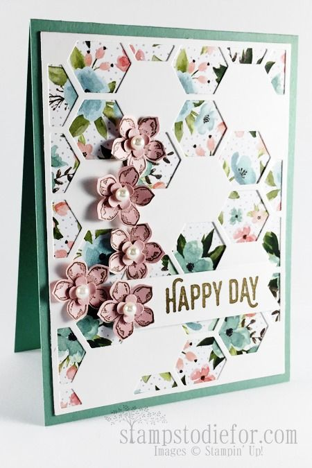 One can never have to many sentiments for creating your hand stamped cards and the Perfect pairings is perfect.   If you don't already own the Hexagon Thinlit you may want to consider getting it durin