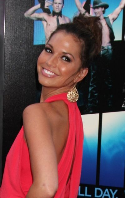 Melissa Rycroft rocks a sexy, messy topknot and love the dress. Love her makeup too.