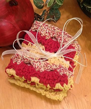 Hot & Saucy! Dishcloth, kitchen towel, crochet #potholder, red, yellow, cream by #OnceUponARoll for $10.80