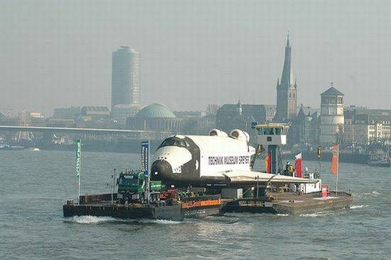 Russian Shuttle Buran foating on Rhine