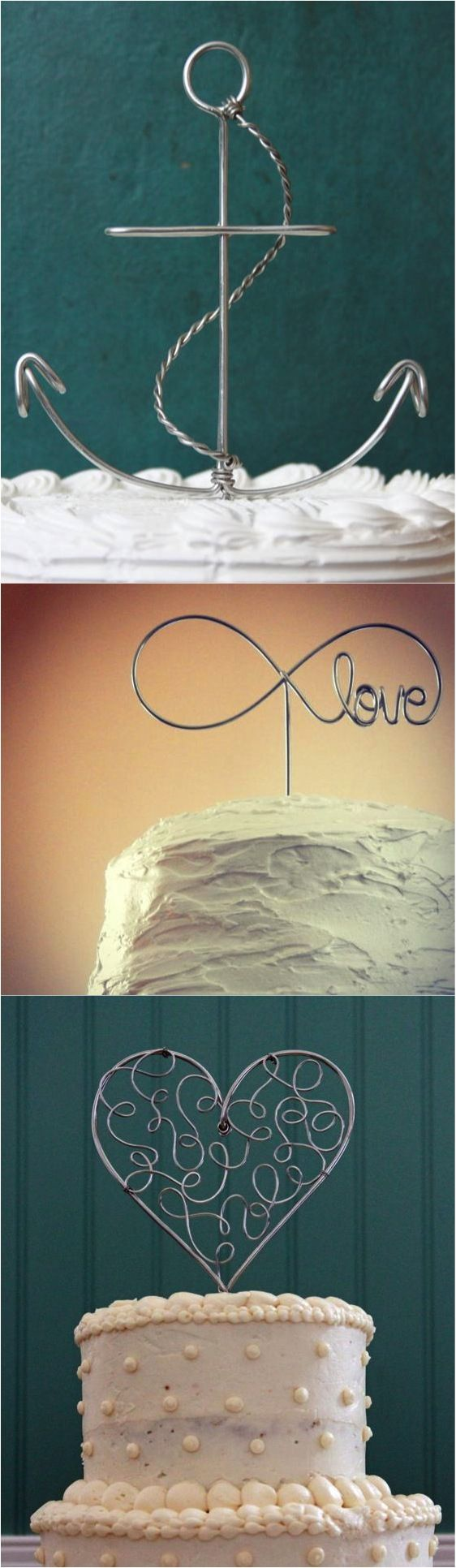 These gorgeous wire wrapped cake toppers can be made for most themes, including an anchor cake topper for a nautical wedding or an infinity cake topper for that ultra romantic wedding! | Made on Hatch.co by independent designers and makers.