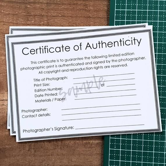 Certificate Of Authenticity Pdf For Photographic Prints Fine Art Photography With Room For Photographer Artist Details Photographic Prints Prints Fine Art Photography