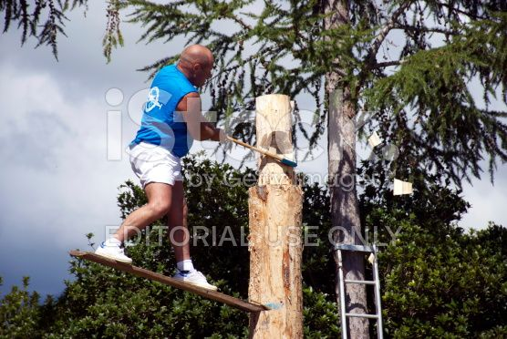 Jiggerboard Competitor in Logging Competition at local A&P Show royalty-free stock photo