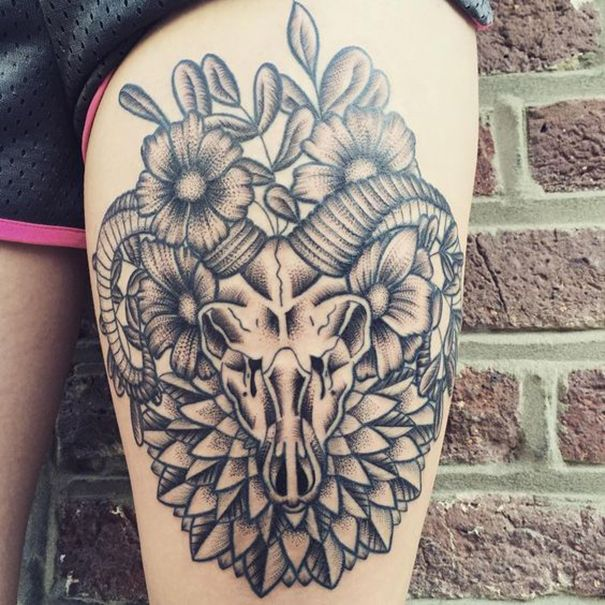 50 Glorious Rose Tattoo Design Ideas That You Ever Seen: Capricorn Tattoos
