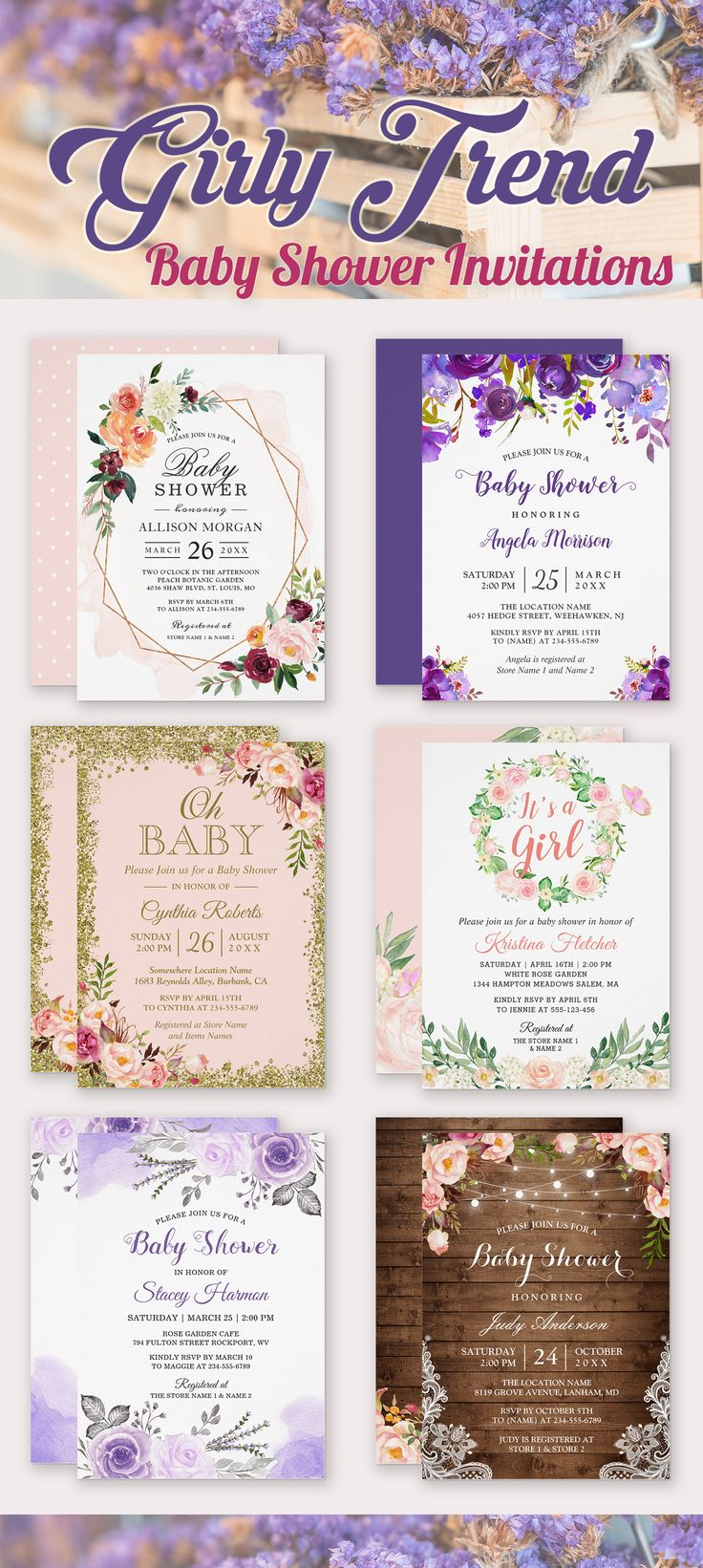 1469 best Baby Girl Shower Invitations images on Pinterest | Baby ...