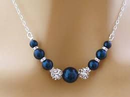 midnight blue and silver necklace