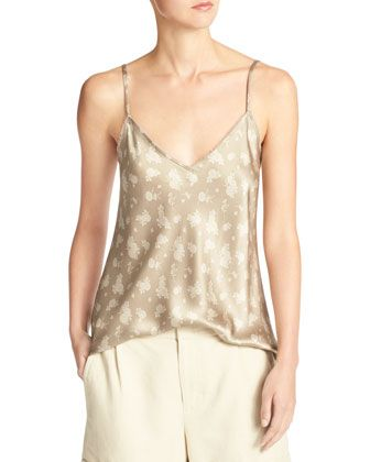 Calico Floral Silk Satin V-Neck Camisole by Vince at Neiman Marcus.