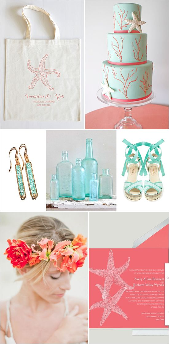 coral and mint beach wedding inspiration #beachwedding #mint #weddingchicks http://www.weddingchicks.com/2014/03/18/easy-beach-wedding-ideas/