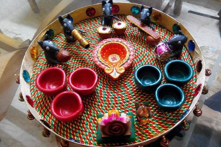 Ganpati decoration ideas pooja ki thali for ganpati for Aarti thali decoration ideas for competition