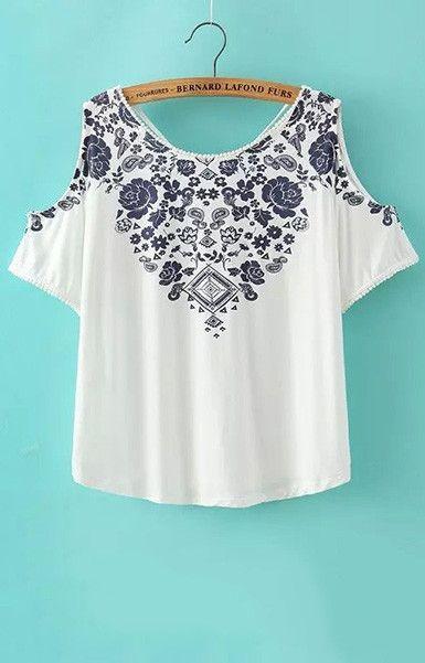 femme haut épaule crop top shirt sexy bleu blanc en porcelaine motif blouses vint …