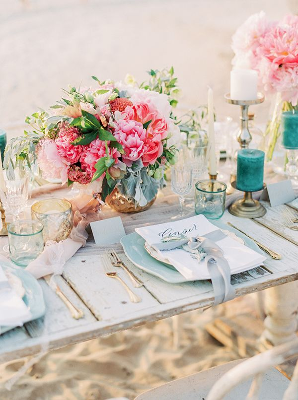 Coral and Aqua Beach Wedding with Peonies and Sea Glass | Lauren Fair Photography| http://heyweddinglady.com/tropical-beach-glam-bahamas-wedding-sparkling-gold-pink/