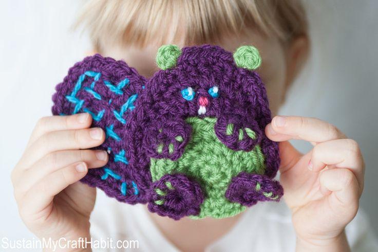 Baby beaver crochet applique free pattern- SustainMyCraftHabit.com