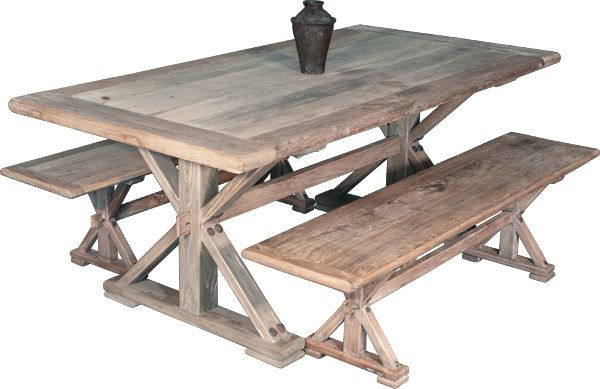 RECLAIMED ELM REFECTORY DINING TABLE ONLY - 1980(L) x 1000(W) - NATURAL - Australia's Best Online Furniture & Bedroom Furniture Store
