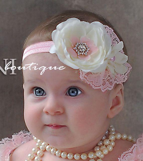 Pink and ivory baby headband, shabby chic roses headband, newborn head band…