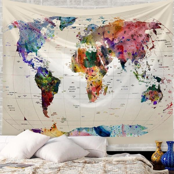 Wish Vintage Map Of The World Wide Sea Decorative Painting Tapestry Wall Hanging Tapestries Beach Colorful Tapestry World Map Tapestry Family Rules Wall Art