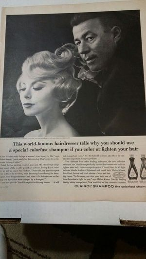 Vintage Clairol shampoo magazine ad famous hairdresser in Fort Myers, FL (sells for $3)