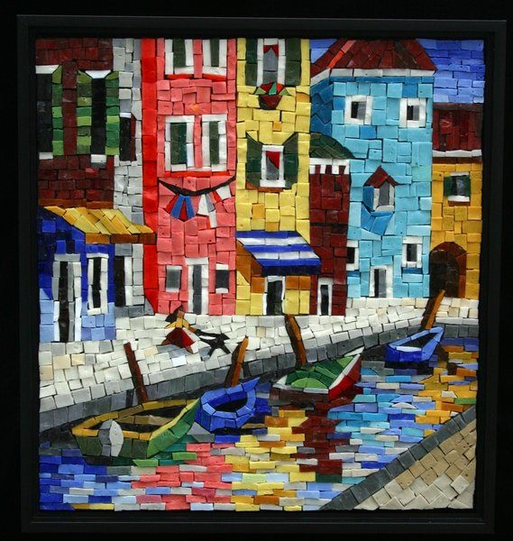 love this little mosaic made with smalti, glass mosaic pieces....Mosaic, Lynn Moor