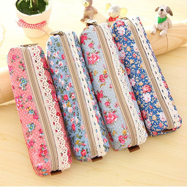 Student Forest Wind Lace Fringe Retro Floral Dot Zipper Pencil Storage Bag Makeup Bag Stationery Bag