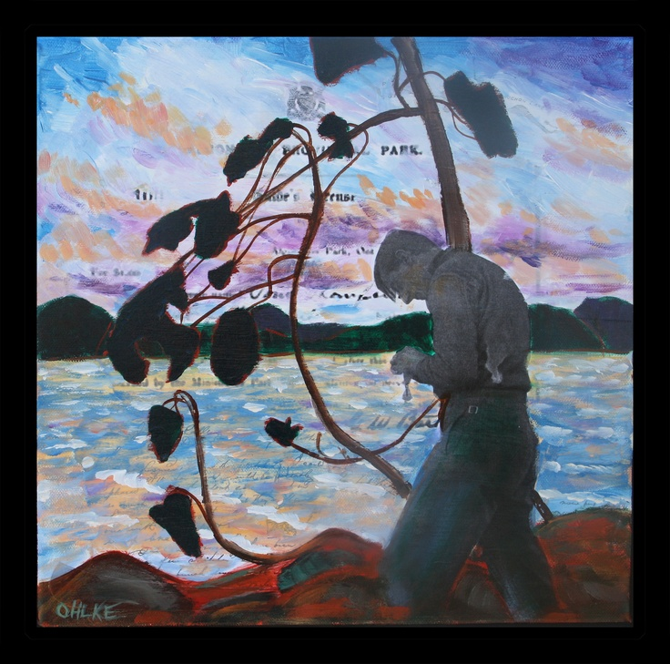 """Artist, Woodsman and Guide"" Mixed Media on Canvas - Katie Ohlke  #tom thomson #algonquin"