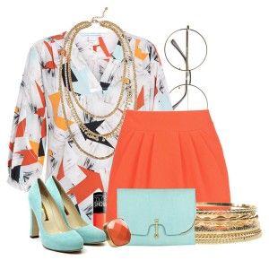 Голубые туфли, красная или оранжевая юбка. цветастая блузка, голубой клатч, золотые украшения