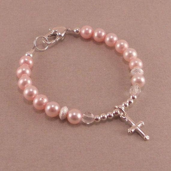Baby Baptism Bracelet, christening pearl bracelet, pink pearls, cross charm, childs jewelry, girl bracelets, goddaughter gift, flower girl via Etsy