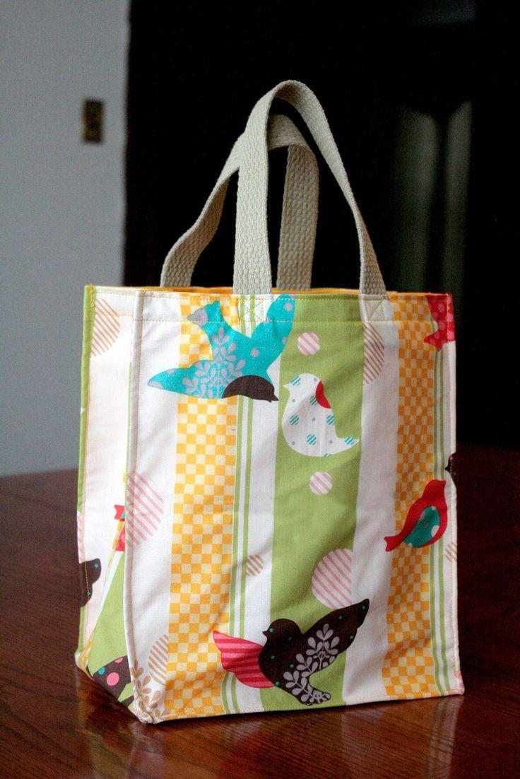 Hacer una bolsa de asas reutilizable en dos tamaños (patrón de costura libre)!