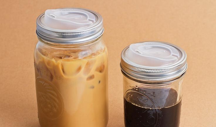 NEED.  Cuppow, A Plastic Lid That Turns Mason Jars Into Travel Mugs