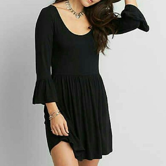AEO Soft & Sexy Black Babydoll Dress Adorable super soft and stretchy black day dress with elbow bell sleeves and fitted waist. New with tags, sold out online and in stores! American Eagle Outfitters Dresses Mini