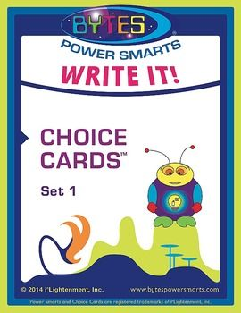 Power-Up your classroom with BYTES Power Smarts!  These 25 Choice Cards are designed for Common Core and include Narratives (Science Fiction Short Story, Historical Fiction Short Story, Fantasy Short Story, Mini-Biography, Script), News Articles, Argumentative Essays, Opinion Pieces/Editorials, Speeches, Monologues, Research Papers, Persuasive Letters writing prompts that cover multiple standards for Common Core.