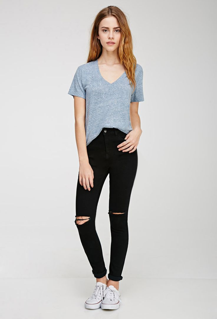 Heathered V-Neck Tee - Tops - 2000115148 - Forever 21 EU
