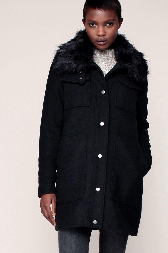 Caban noir col Yolanda Vero Moda avec fourrure amovible prix promo Caban Femme Monshowroom 89.95 €