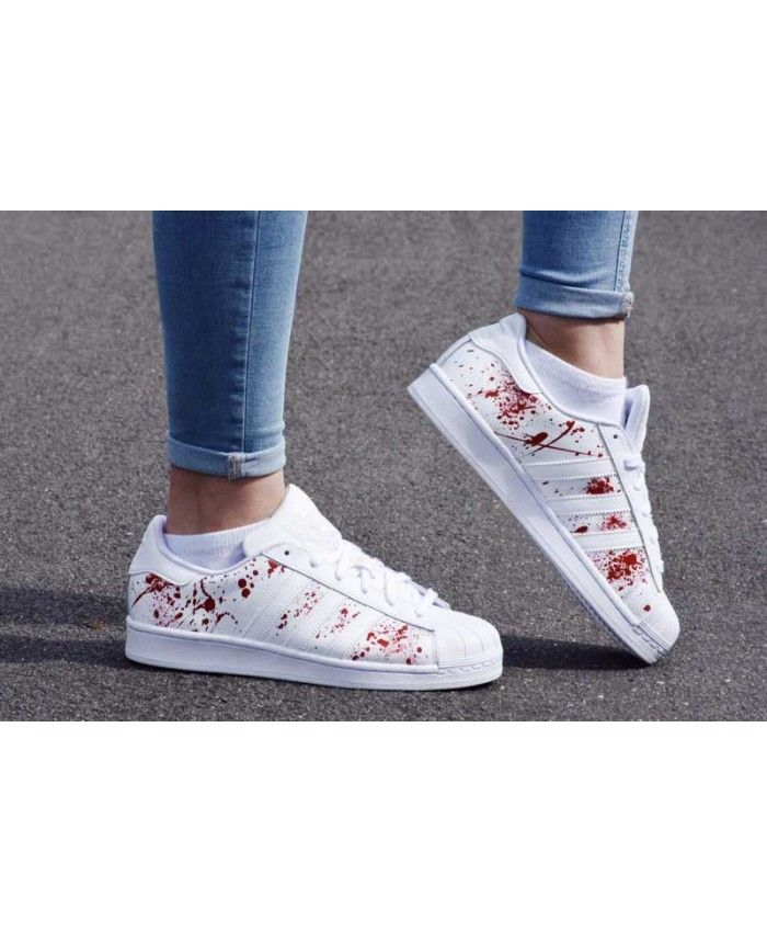 Adidas Superstar White Red Hype Trainer | Adidas superstar