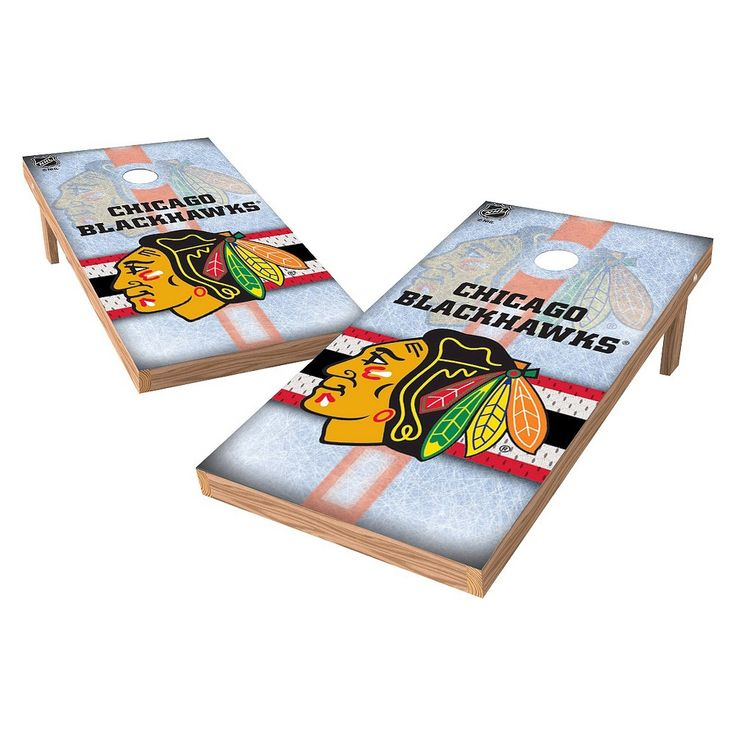 NHL Wild Sports Shield Cornhole Bag Toss Set - 2x4 ft. - Chicago Blackhawks