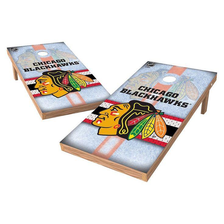 NHL Wild Sports Shield Cornhole Bag Toss Set - 2x4 ft. - Chicago Blackhawks