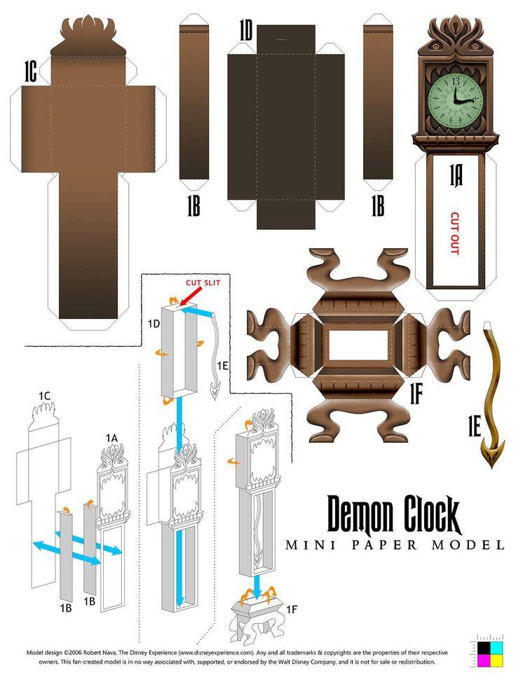 Demon Clock Papercraft - from disneyexperience.com  http://www.disneyexperience.com/models/demonclock_model.php