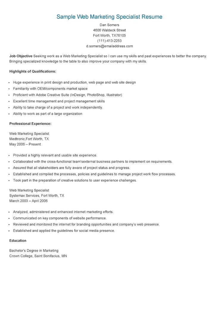 235 best resame images on Pinterest Website, Sample resume and - marketing specialist sample resume