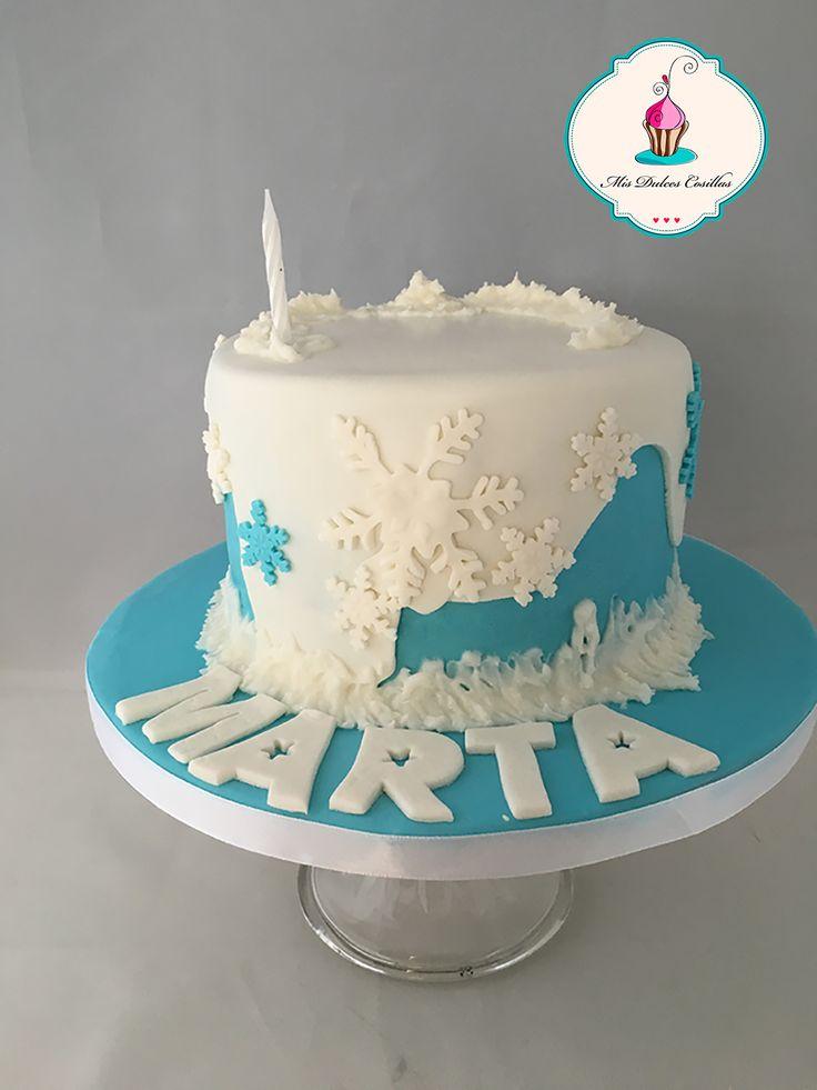 tarta fondant cumpleaños invierno. Frozen