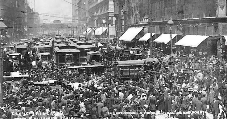 Cubs Win the 1908 World Series and Chicago Celebrates. Downtown Looking North on State Street at Madison Street.