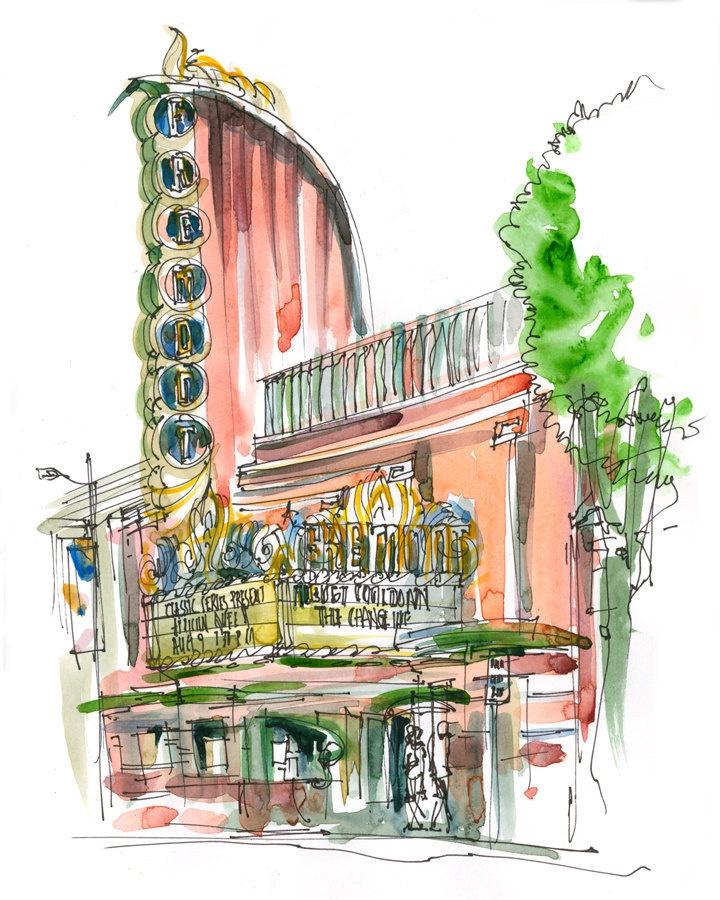 Architectural Sketch Art Deco Theater