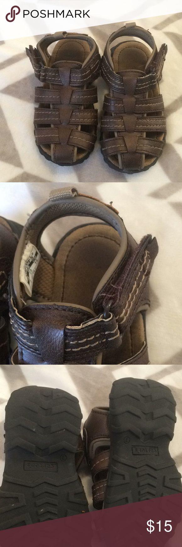 Toddler boys size 7 sandals Brown sandals with Velcro close Carter's Shoes Sandals & Flip Flops