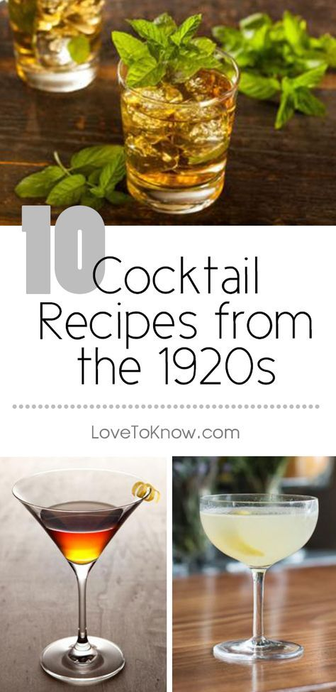 Even though alcohol consumption was outlawed by Prohibition during the 1920s, it didn't stop people from consuming cocktails. Bootleggers found ways to create and supply liquors such as gin and whiskey, which served as the alcoholic base for many of the popular cocktails of the time.   10 Cocktail Recipes from the 1920s from #LoveToKnow