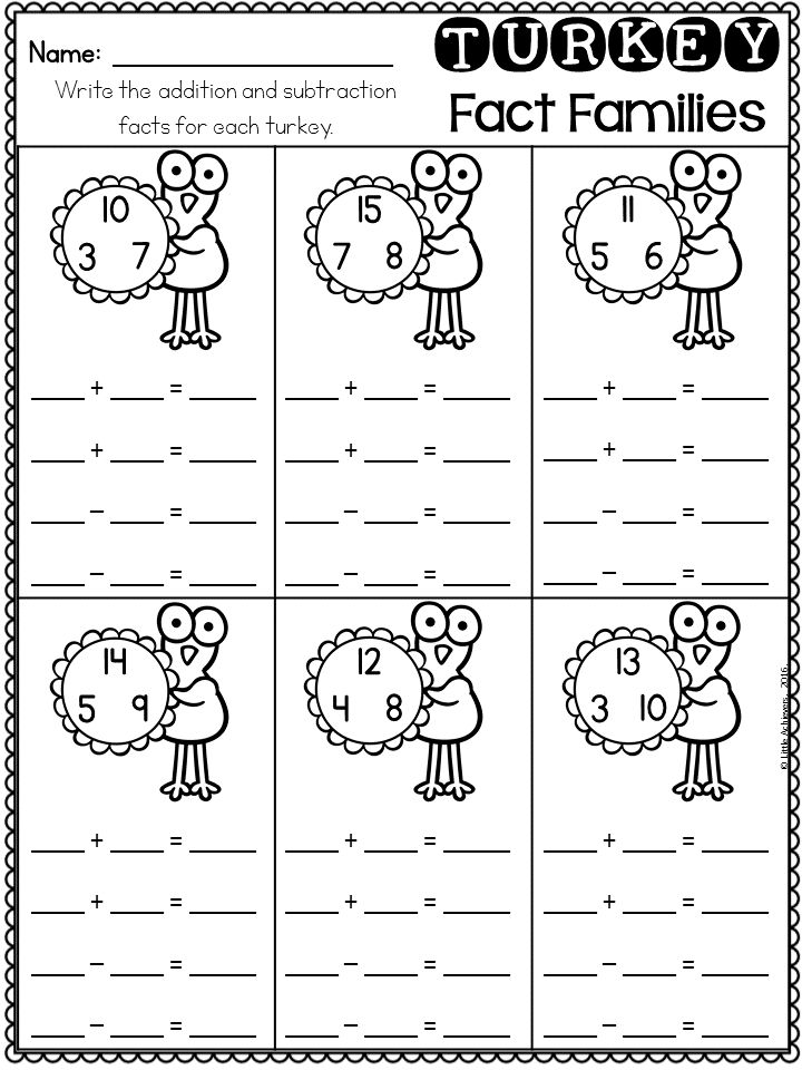 Thanksgiving Activities for First Grade Math Worksheets