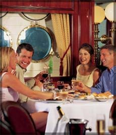 Dining room of the Royal Clipper (Star Clipper ships).  These are state-of-the-art ships and have 75 outside staterooms/150 passengers.  Casual atmosphere. These are sophisticated sailing vessels - I know because I've had the pleasure of sailing them twice.  More info? Contact me at: ASPEN CREEK TRAVEL - karen@aspencreektravel.com