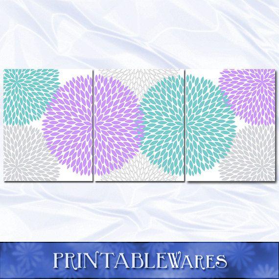 Purple and Teal Nursery Decor Wall Art Print by PrintableWares