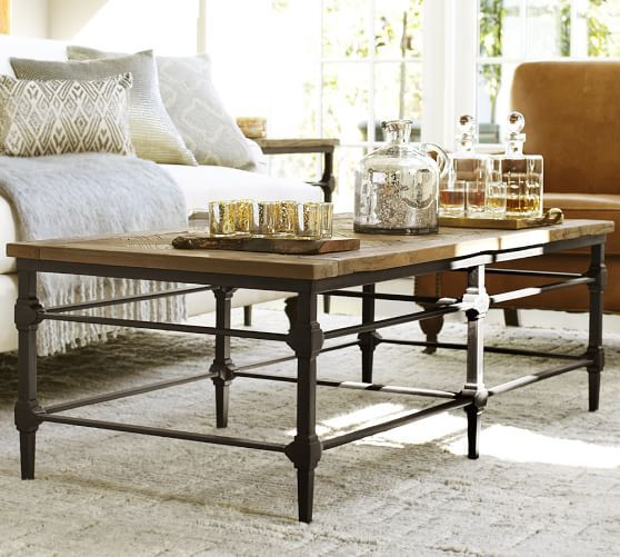 """Parquet Reclaimed Wood Rectangular Coffee Table 