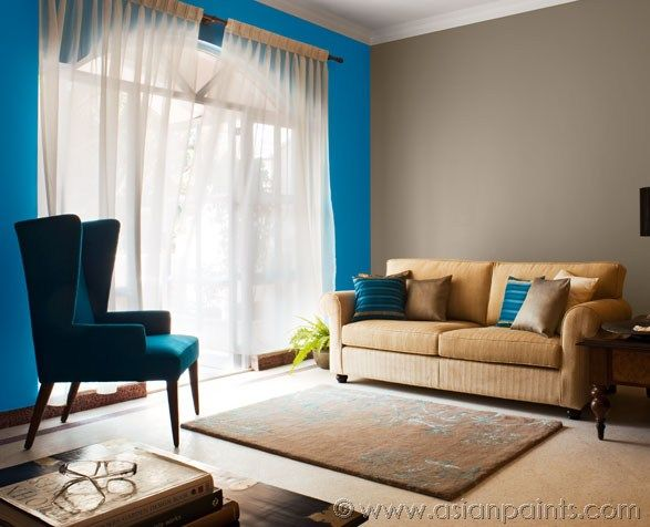 Living Room Feature Wall In Mineral Blue Other Walls In Butter Rum 8456 Part 89