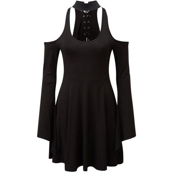 Piper Hexerei Dress [B] KILLSTAR ❤ liked on Polyvore featuring dresses, plunging neckline dress, killstar dress, jersey knit dress, plunge-neck dresses and killstar