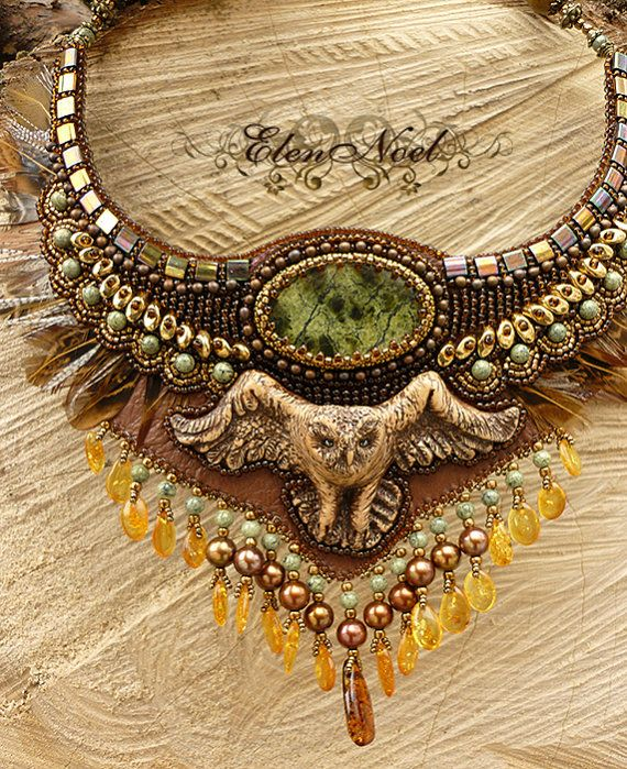 Owl necklace bead embroidery art via etsy beading