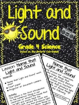 This Light and Sound package contains:-1 title page-12 Lessons varying on different elements of light and sound including introduction lessons and follow up questions sheets for students to show their understanding. -3 experiments with variations on how to conduct them.