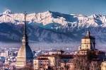 Torino e le montagne innevate